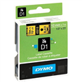 DYMO 45018 D1 LABEL TAPE 12MM X 7MM BLACK ON YELLOW