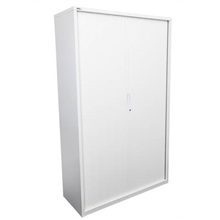 GO STEEL TAMBOUR DOOR CABINET NO SHELVES 1981 X 1200 X 473MM WHITE CHINA